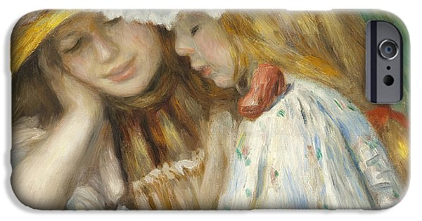 Little Girl iPhone Cases - Two Girls Reading iPhone Case by Renoir