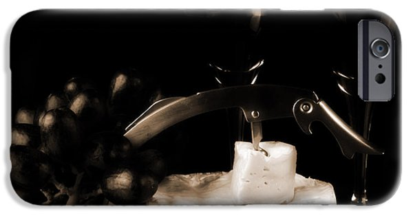 Table Wine iPhone Cases - Two glasses of red wine a cammembert iPhone Case by Toppart Sweden