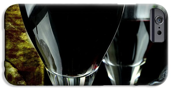 Table Wine iPhone Cases - Two glasses with red wine iPhone Case by Toppart Sweden