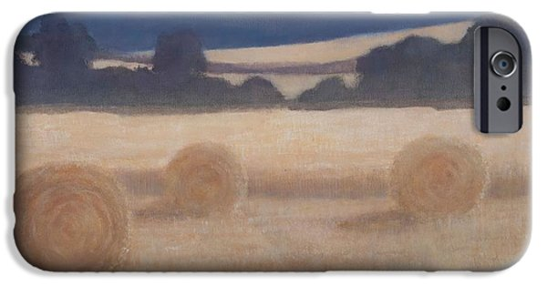 Hay Bales iPhone Cases - Two Hay Bales, 2012 Acrylic On Canvas iPhone Case by Lincoln Seligman