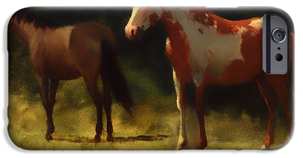 Concept Paintings iPhone Cases - Two Horses iPhone Case by Bierstadt