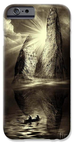 Sun Rays Mixed Media iPhone Cases - Two in a Boat iPhone Case by Svetlana Sewell