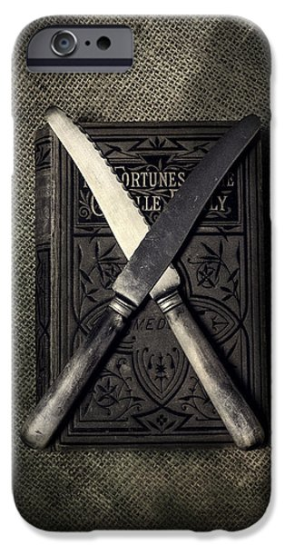 Weapon iPhone Cases - Two Knives And A Book iPhone Case by Joana Kruse