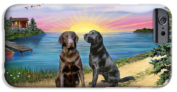 Chocolate Lab Digital Art iPhone Cases - Two Labs at the Lake iPhone Case by Jean B Fitzgerald