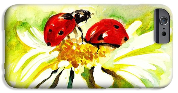 Ladybug iPhone Cases - Two Ladybugs in Daisy after my original watercolor iPhone Case by Tiberiu Soos