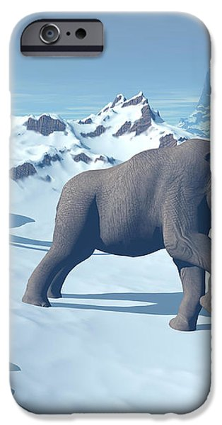 Two Large Mammoths Walking Slowly iPhone Case by Elena Duvernay