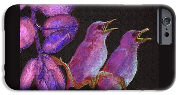 Baby Bird Digital iPhone Cases - Two Little Birds In Pink iPhone Case by Jane Schnetlage