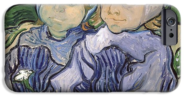 Young Paintings iPhone Cases - Two Little Girls iPhone Case by Vincent Van Gogh