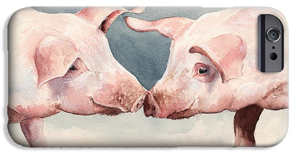 Piglets iPhone Cases - Two Little Piggies iPhone Case by Alison Cooper