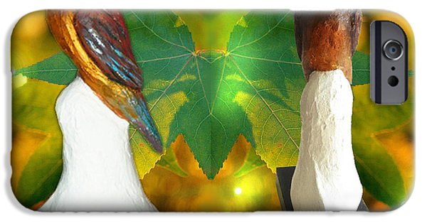Plants Sculptures iPhone Cases - Two Lovely Birds iPhone Case by Xueyin Chen
