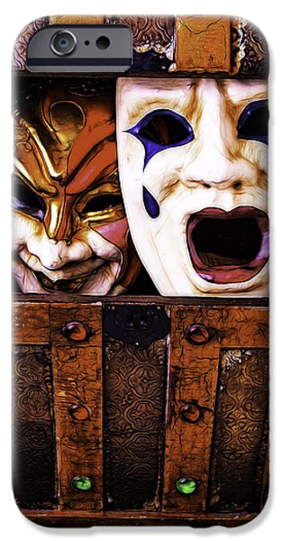 Treasure Box iPhone Cases - Two Masks In Box iPhone Case by Garry Gay