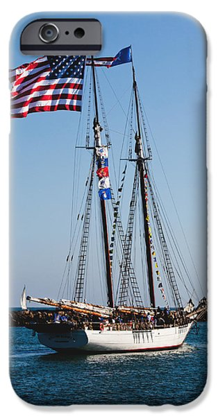 Tall Ship iPhone Cases - Two-masted Schooner iPhone Case by Art Block Collections