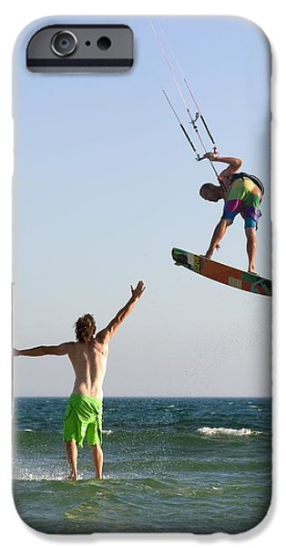 Mature Adult iPhone Cases - Two Men Off Valdevaqueros Beach iPhone Case by Ben Welsh
