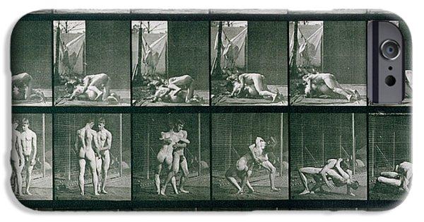 Homo iPhone Cases - Two Men Wrestling iPhone Case by Eadweard Muybridge