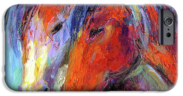 Wild Horse iPhone Cases - Two mustang horses painting iPhone Case by Svetlana Novikova