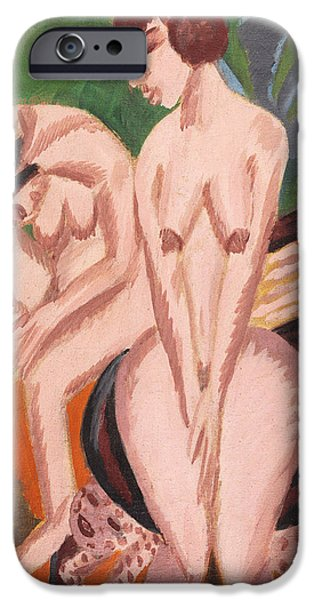 Women Together iPhone Cases - Two Nudes in the Room iPhone Case by Ernst Ludwig Kirchner