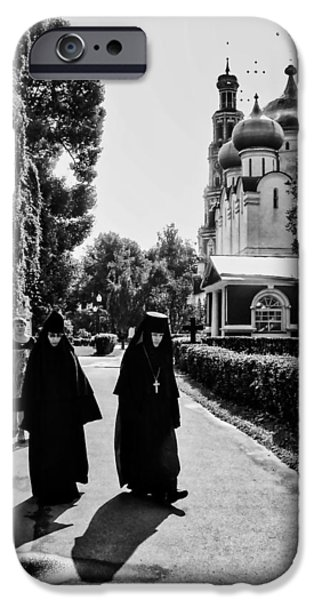 Russian Cross iPhone Cases - Two Nuns- black and white - Novodevichy Convent - Russia iPhone Case by Madeline Ellis