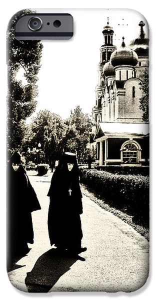 Russian Cross iPhone Cases - Two Nuns - sepia - Novodevichy Convent - Russia iPhone Case by Madeline Ellis