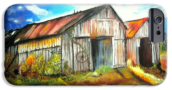 Farm Landscape Pastels iPhone Cases - Two Old Barns iPhone Case by Mike Benton