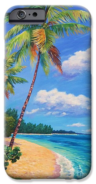 Savannah iPhone Cases - Two Palms in Paradise iPhone Case by John Clark