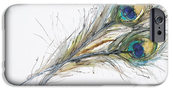 Simplistic iPhone Cases - Two Peacock Feathers iPhone Case by Tara Thelen