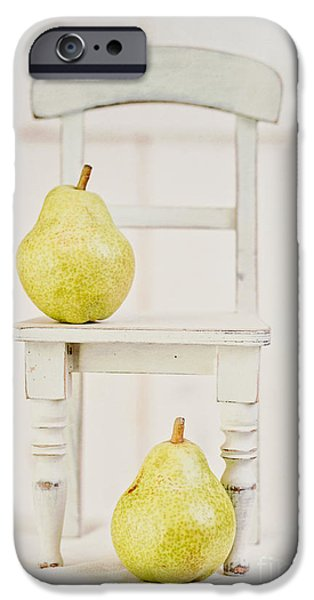 Pears iPhone Cases - Two pears and a chair still life iPhone Case by Edward Fielding