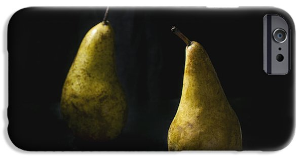 Berry Pyrography iPhone Cases - Two pears iPhone Case by Natasha Breen