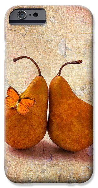 Pears iPhone Cases - Two Pears With Butterfly iPhone Case by Garry Gay