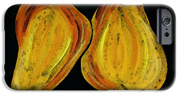 Pear iPhone Cases - Two Pears - Yellow Gold Fruit Food Art iPhone Case by Sharon Cummings