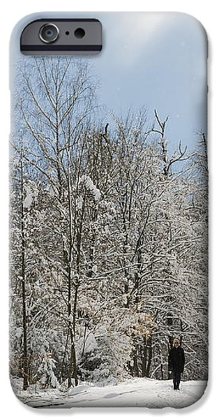 Two people doing a walk in beautiful forest in winter iPhone Case by Matthias Hauser