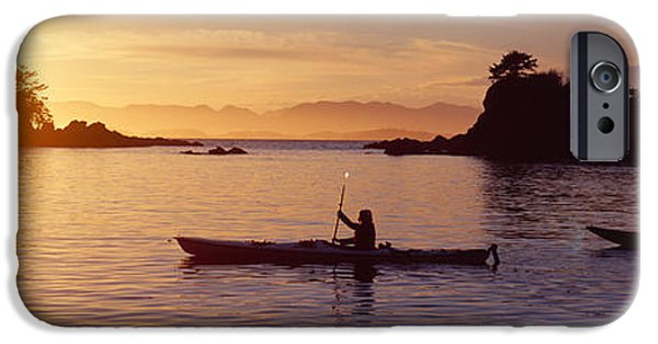 Kayak iPhone Cases - Two People Kayaking In The Sea, Broken iPhone Case by Panoramic Images