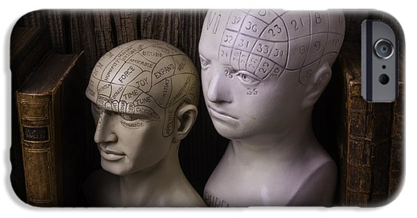 Personalities Photographs iPhone Cases - Two Phrenology Heads iPhone Case by Garry Gay