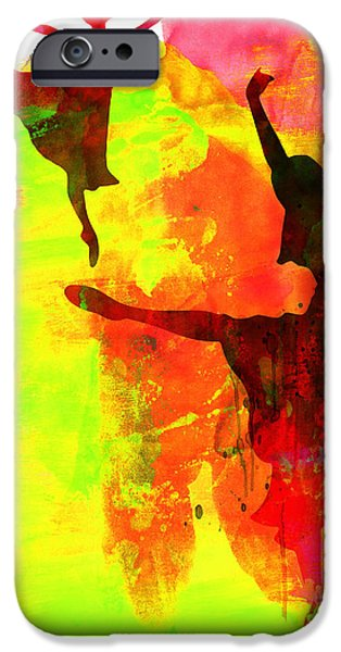 Ballet Dancers Photographs iPhone Cases - Two Red Ballerinas Watercolor  iPhone Case by Naxart Studio