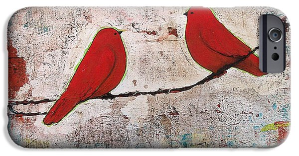 Birds iPhone Cases - Two Red Birds on a Wire iPhone Case by Blenda Studio