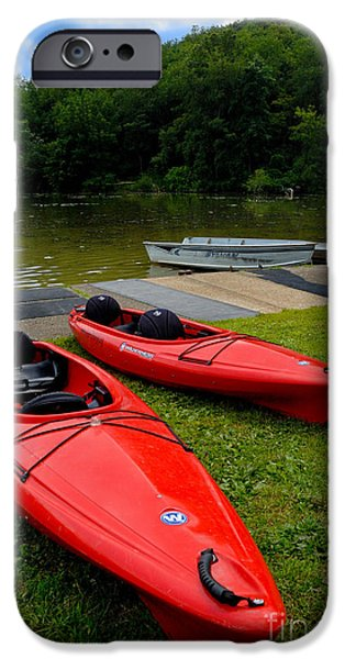 2 Seat iPhone Cases - Two Red Kayaks iPhone Case by Amy Cicconi