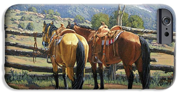 Horse iPhone Cases - Two Saddle Horses iPhone Case by Randy Follis