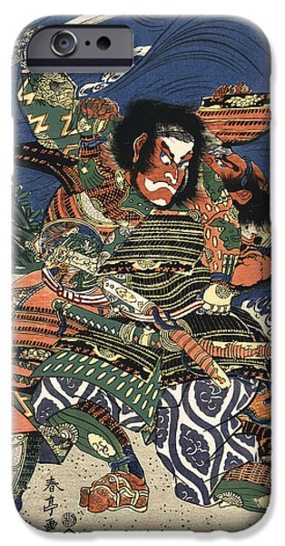 Knights Beach iPhone Cases - TWO SAMURAI FIGHTING c. 1819 iPhone Case by Daniel Hagerman