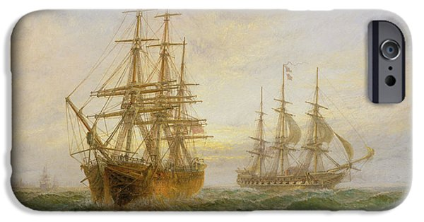 Warship iPhone Cases - Two Ships Passing At Sunset iPhone Case by Claude T Stanfield Moore