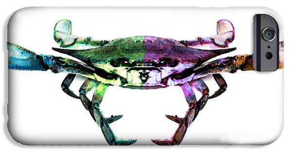 Creatures Paintings iPhone Cases - Two Sides - Duality Crab Art iPhone Case by Sharon Cummings