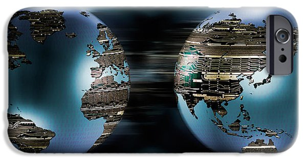 Cyberspace iPhone Cases - Two Sides Of Earths Made Of Digital iPhone Case by Panoramic Images