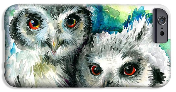 Enfants iPhone Cases - Two Sisters - Polar Owl Offsprings iPhone Case by Tiberiu Soos