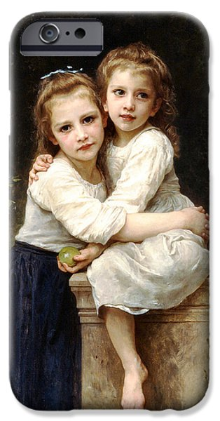 Little Girl Digital Art iPhone Cases - Two Sisters iPhone Case by William Bouguereau