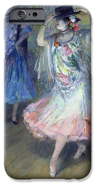 Shawl iPhone Cases - Two Spanish Dancers Pastel On Paper iPhone Case by Juan Roig y Soler