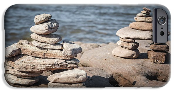 Marker iPhone Cases - Two stacked stone cairns iPhone Case by Elena Elisseeva