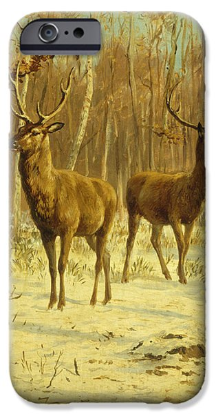 Two Stags in a Clearing in Winter iPhone Case by Rosa Bonheur