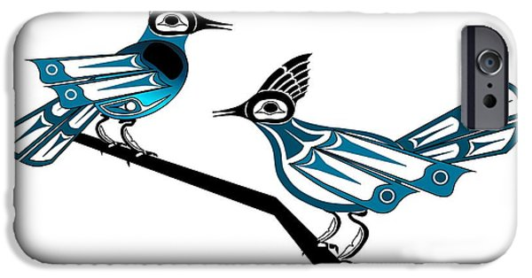 Stellar Drawings iPhone Cases - Two Stellar Jays iPhone Case by Fred Croydon