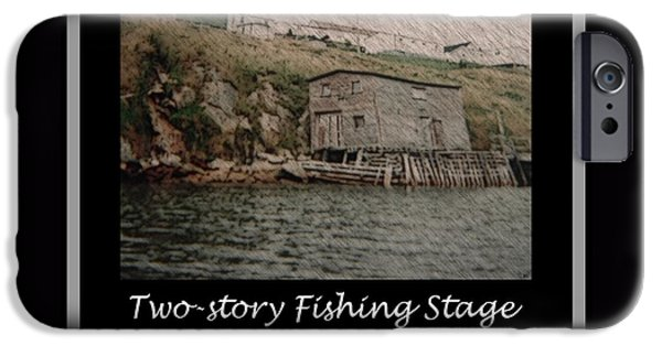 Shed Drawings iPhone Cases - Two-Story Fishing Stage iPhone Case by Barbara Griffin