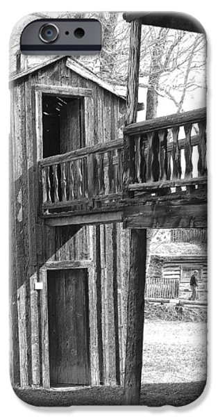 Old Barn Drawing iPhone Cases - Two-Story Privy iPhone Case by Mark Eisenbeil