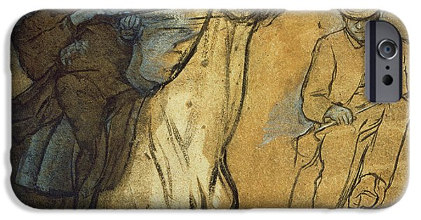 Signed Drawings iPhone Cases - Two Studies of Riders iPhone Case by Edgar Degas