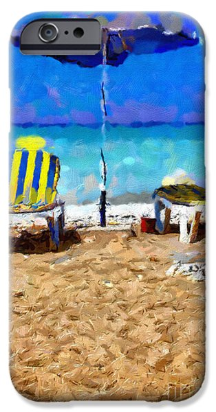 Empty Chairs Paintings iPhone Cases - Two sun-chairs and umbrella painting iPhone Case by Magomed Magomedagaev
